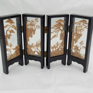Vintage cork art sculpture mini screen